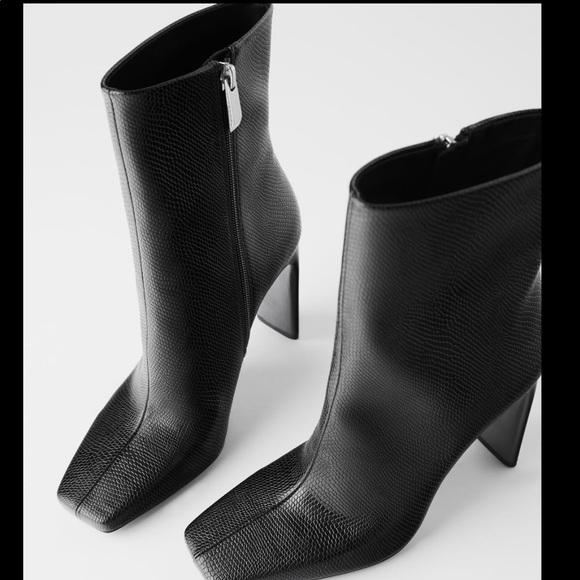 Zara Shoes | Heeled Animal Print Ankle